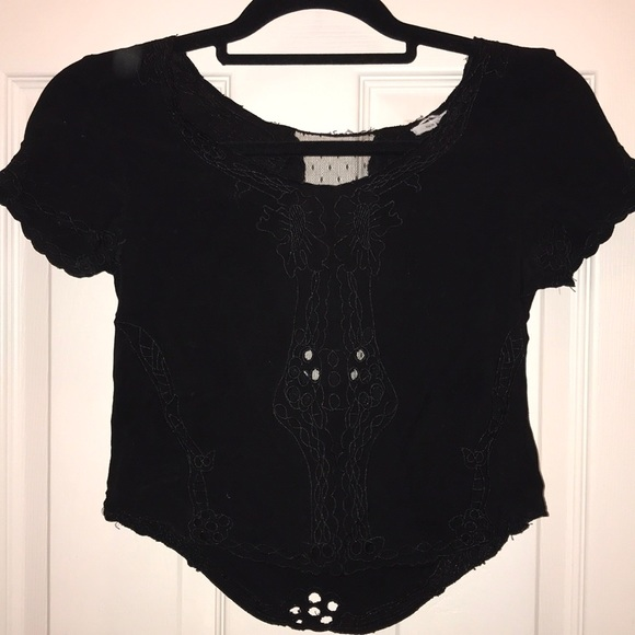 Kimchi Blue Tops - Urban Outfitters cropped black top